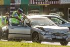 CRASH: Car crash on Te Ngae Road. PHOTO/STEPHEN PARKER