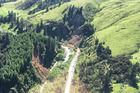 An aerial view of earthquake-affected State Highway 1 near Kaikoura which was impacted by last Monday's 7.8M quake. Photo / NZME