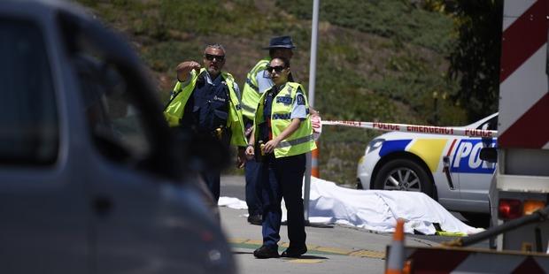 Police at the scene where a cyclist was killed in Tauranga. Photo/George Novak