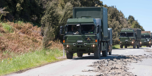 Driving the quake-damaged 100km route from Culverden to Kaikoura is testing the mettle of the New Zealand Defence Force truck drivers ferrying vital supplies. Photo / NZDF