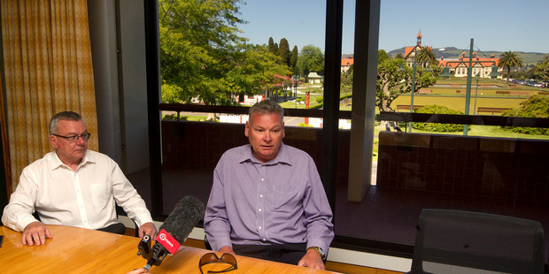 Loading Rotorua Museum director Stewart Brown, right, and Rotorua Lakes Council chief executive Geoff Williams address the media this afternoon. Photo/Ben Fraser