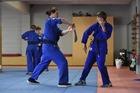 Mile High Karate Club students Luke Hardy, left, and Chase Marshall. Photo: George Novak