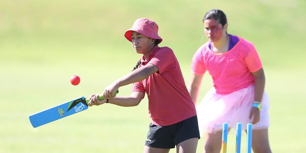Nine-year-old Taara Titi from Te Puke Primary hits out during the GoGirl Super Sixes Cricket tournament. Photo/ John Borren