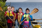 From left, Te Pumanaawa o Toku ate Rogers, 9, Waikimihia Douglas-Karauna, 9, Waiora Hudson, 9, and Ella Gotz, 8. PHOTO/BEN FRASER