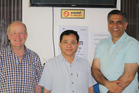 Retired Whanganui optometrist Mike Webber (left) with Phnom Penh eye clinic director Dr Hang Vra, and Timaru ophthalmologist Dr Muhammad Khalid. Photo/Supplied.