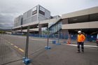 The Event Cinemas and Queensgate Shopping Centre in Lower Hutt, cordoned as a result of the November 14 earthquake. Photo / Mark Mitchell
