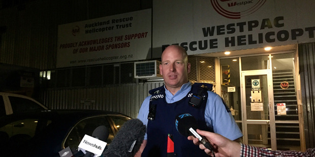 Inspector Duncan Hall speaks to media tonight about the Kaipara tragedy where five people died when a fishing charter boat overturned at South Head. Photo / Cherie Howie
