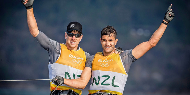 WORLD CHAMPIONS: Peter Burling, left, and Blair Tuke have won the major Yachting New Zealand award for the fourth consecutive year. PHOTO/photosport