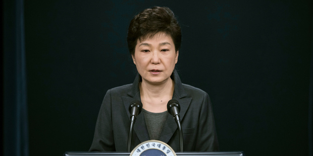 South Korean President Park Geun-hye speaks during an address to the nation. Photo / AP