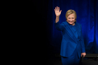 Hillary Clinton waves to the audience after addressing Children's Defense Fund's Beat the Odds celebration at the Newseum in Washington. Photo / AP