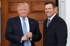 President-elect Donald Trump poses for photographs with Kansas Secretary of State, Kris Kobach, at the Trump National Golf Club in Bedminster. Photo / AP