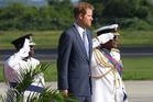 Prince Harry arrives at V C Bird International Airport Antigua to start his visit of The Caribbean. Photo / AP