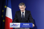 Former French President Nicolas Sarkozy delivers a speech after being defeated on the first round of the French right wing party 'Les Republicains' primaries in Paris. Photo / AP