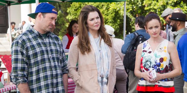 Scott Patterson, Lauren Graham and Alexis Bledel in a scene from Gilmore Girls: A Year In The Life. Photo / Netflix
