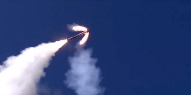 The Russian military launches a missile from a Bastion missile launcher in Syria. Photo / AP