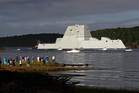 The US stealth destroyer USS Zumwalt broke down in the Panama canal yesterday and had to be towed to port. In this file photo the ship heads down the Kennebec River in Bath, Maine, in September. Photo / AP