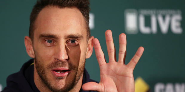 South Africa's cricket captain Faf du Plessis opens his hand as he comments in Adelaide, Australia. Photo / AP.