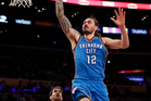 Oklahoma City Thunder center Steven Adams finishes at the rim against the Lakers. Photo / AP