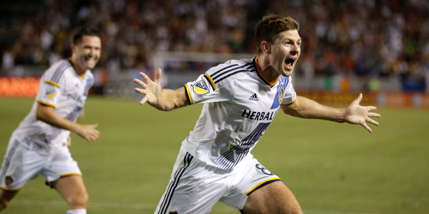 FILE - In this Friday, July 17, 2015 file photo, Los Angeles Galaxy's Steven Gerrard celebrates his first goal for the team, during the first half of an MLS soccer match. Photo / AP.
