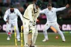 Australia's Nic Maddinson is clean bowled by South Africa's Kagiso Rabada. Photo / AP