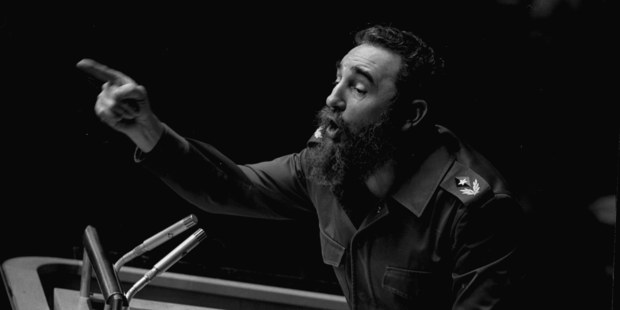 In this Oct. 12, 1979 file photo, Cuban President, Fidel Castro, points during his lengthy speech before the United Nations General Assembly, in New York. Photo / AP