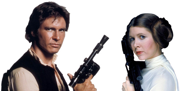 Hans Solo ( Harrison Ford ) and Princess Leia ( Carrie Fisher ). Photo / Supplied