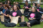 PSA members during an Equal Pay Day picnic on the front lawn at Parliament, Wellington. NZH photo Mark Mitchell.