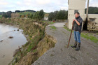 The Whangaehu River, laden with eroded silt, cut into Andrew Pearce's Kauangaroa farm in June last year. Photo / Bevan Conley