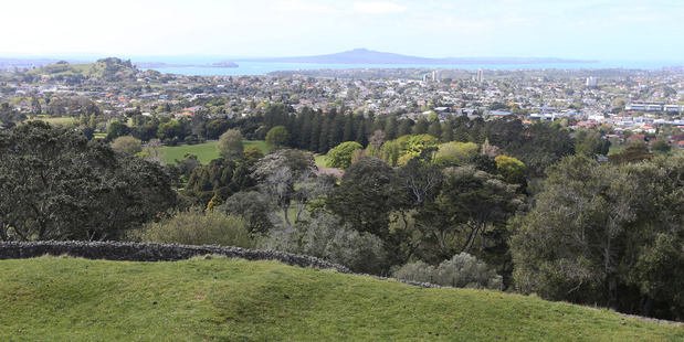 The view of Auckland from One Tree Hill to the Waitemata Harbour. Photo / Doug Sherring