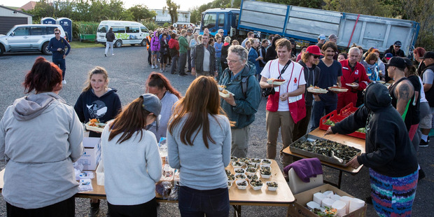 Loading The admirable community spirit, such as the meals served at the marae, is coming through strongly in reports of the Kaikoura quake zone. Photo / Mike Scott
