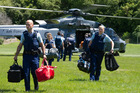 Police arrived in Kaikoura by helicopter with the Air Force and have remained to help out. Photo / NZDF