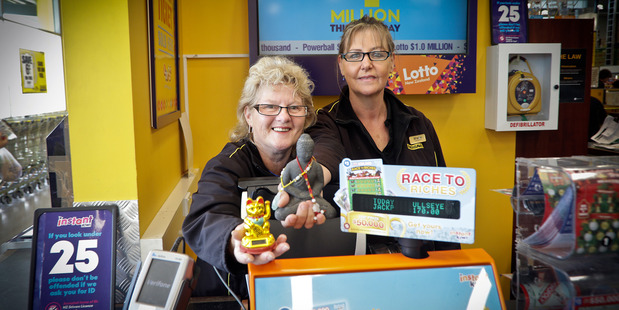 Pak'nSave Papamoa's Gloria Goepel (left) and Sharron Taylor are happy to have sold a $500,000 winning ticket. Photo/file