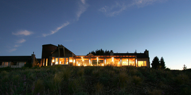 A night shot of The Farm, at Cape Kidnappers. Photo / Brett Phibbs