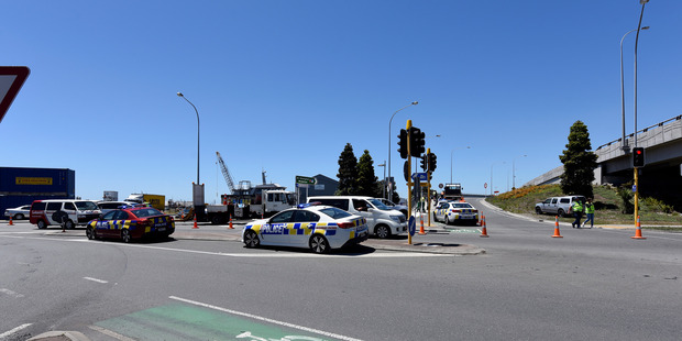 The scene where a Celebrity Solstice passenger was killed after a collision with a truck while on a cycling tour on Tuesday. Photo/George Novak.