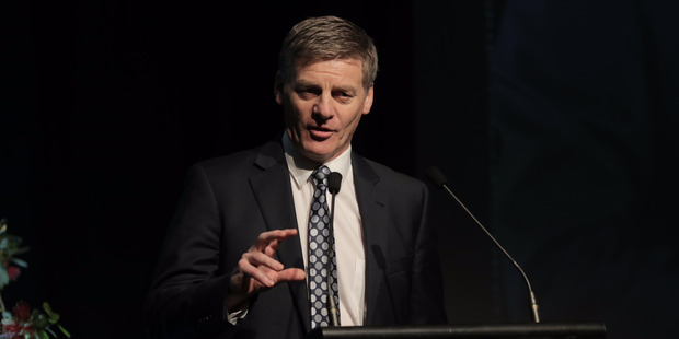 Bill English speaks at the Mood of the Boardroom event held at the Langham hotel. Photo / Michael Craig