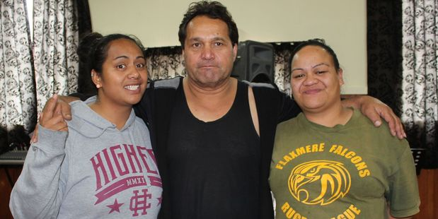 Ngaroma (Mala) Panirau, left, Anaru Birch and Chantelle Kiu-Tiopire at Dannevirke's Makirikiri Marae last weekend. Photo/Christine McKay