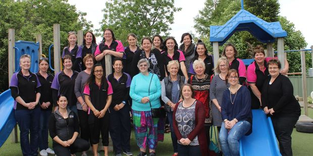 Past and present staff of Dannevirke's First Years Preschool at the 50th anniversary celebrations. Photo/Christine McKay