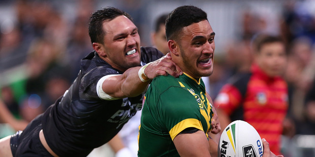 Valentine Holmes of runs to the try line during the International Rugby League Test match between the Kangaroos and the Kiwis. Photo / Getty Images