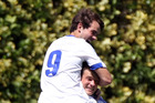 Facundo Barbero top celebrates with penatly-kick goal scorer Saul Halpin today. PHOTO/Paul Taylor