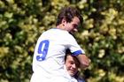 Facundo Barbero top celebrates with penatly-kick goal scorer Saul Halpin today. PHOTO/Paul Taylor