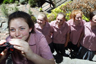 Catriona Geddes (left), Mikayla Kingston, Ruby Stent, Lily Bernhardi, and Brooke Wray, all year 10 students from Woodford House, on the lookout for an errant parakeet. Photo / Paul Taylor