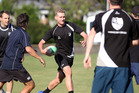 HB senior men's cricketer Ben Stoyanoff shows his touch rugby skills during training before tomorrow's Hawke Cup match in Palmerston North. PHOTO/Paul Taylor