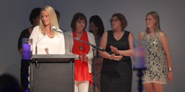 EngAGE Orbit team leader Sarah Shanahan speaking as the team won the Royston Hospital Supreme Award and Southern Community Laboratories Excellence in Service Improvement. Photo / Duncan Brown.