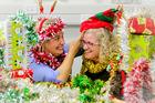 Christmas Cheer co-ordinators Renske Speekenbrink (left) and Jo Reyngoud get into the festive spirit of it all.  Photo/Warren Buckland