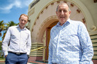 Tim McKimm (left) and Ray McKimm,  Ahuriri Business Park developers in front of the Art Deco era former Rothmans building that is being redeveloped.  PHOTO/Warren Buckland HBT16333103