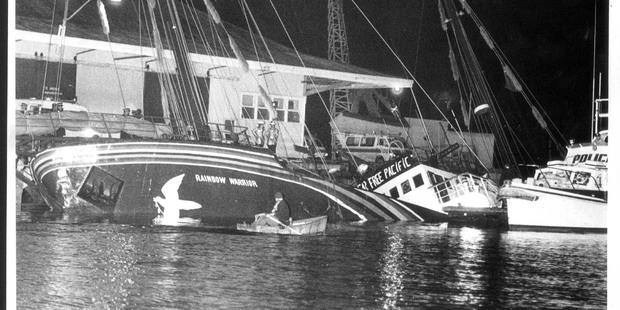 The Greenpeace ship Rainbow Warrior sank on Auckland Harbour on July 11, 1985. Photo / Ben Motu