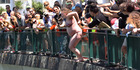 Thirty-eight people jumped into the Hatea for Take The Plunge on Sunday, including a heavily pregnant Jess White. Photo / Imran Ali