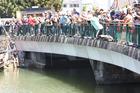 Whangarei Mayor Sheryl Mai was the first to take the plunge off the Canopy Bridge. Photo / Imran Ali