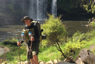 Ken Ash at Kerikeri's Rainbow Falls this week as he walks the length of the country to raise funds for the Neurological Foundation.