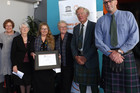 Waipu Museum received its UNESCO award in Wellington, From left Dianne Macaskill, chair of Memory of the World New Zealand, Dame Fiona Kidman, Jean Tafa, Fiona Mohr, David Craig, and Ken Couper.